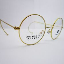 48mm 50mm Antique Vintage Round Gold Grey Wire Rim Eyeglass Frame Spectacles Rx