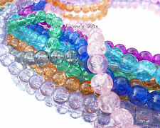 GLASS CRACKLE ROUND BEADS - 8mm - Choice of Colour - x100 Jewellery Making Craft