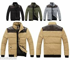 Mens Black Brown Beige  d.g Star Quilted Padded Down Leather Bomber Coat Jacket