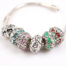 Charms Carved Rhinestone Dot Enamel Alloy Colorful Bead Fit European Bracelet