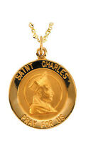 New 14k Yellow Gold Saint St. Charles Pendant Necklace