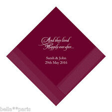 100 Personalized Happily Ever After Beverage or Lunch Napkins 24 Color Choices