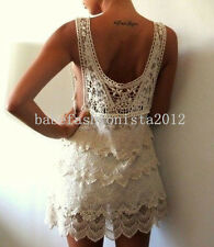 FREE GIFT + Floral Lace Crochet zara Vtg style HIPPIE people Dress tunic TOP