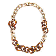 Janeo Tortoise Shell Rose Gold Links Chunky Necklace Sale Christmas Gift Her £6