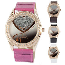 Unique Bling Crystal Bezel Ladies Women Leather Stainless Wrist Watch New Girls
