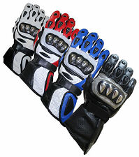 New Leather Motorcycle Gloves Stainless Steel