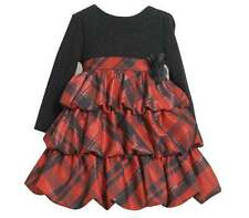 BONNIE JEAN Girl's Christmas Holiday Tiered Ruffle Red Plaid Rose Dress 4 5 6 6X