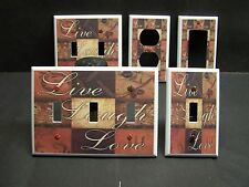 LIVE LAUGH LOVE COUNTRY PATCHWORK INSPIRATIONAL LIGHT SWITCH OR OUTLET COVER 493
