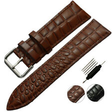 Watch Band Strap Black Brown Cocro Genuine Leather Belt Silver Buckle Mens Women