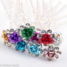 5 or 10 Rose Flower Hairpin Crystal Wedding Party Bridal Prom Star Hair Pin Clip