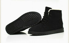 Casual Woman's Flat Lace Up Fur Lined Winter Martin Boots Snow Ankle Boots Shoes