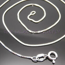 "925 Sterling Silver 1mm Box Chain Necklace 16"" or 18"" Inch Organza Gift Bag"