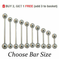 Straight Barbell Tongue Bar 316l Surgical Steel Nipple Ear 14g 16g 6mm - 24mm