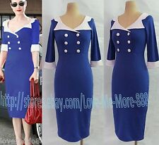 Womens Vintage Rockabilly Pinup Fitted Party Midi Pencil Wiggle Bodycon Dress