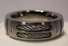 NEW Silver Titanium Dual Cable Mens 8mm Ring Wedding Band Sz 7-12