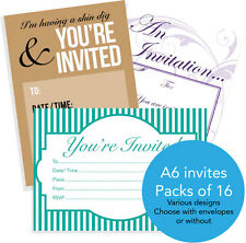 16 A6 invitations for adults or teens with or without envelopes birthday design