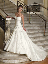 Strapless Princess Wedding Dress Bridal Gown Size 6 8 10 12 14 16 18 20 +