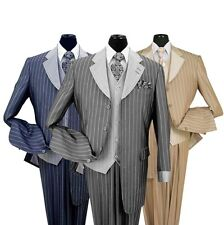 New Men's 3pc Luxurious Gangster Striped Wool Feel Suit Black, Navy, Tan, Brown