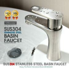 304 Stainless Steel Bathroom Basin&Vessel Sink Faucet Mixer Tap nickel brushed