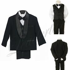 Baby Toddler Boy Wedding Party Formal Satin Shawl Lapel Tuxedo Black Suit sz S-7