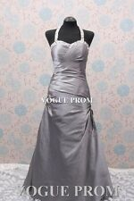 Silver long designer formal Bridesmaids Party Evening ball gowns Prom Dresses UK