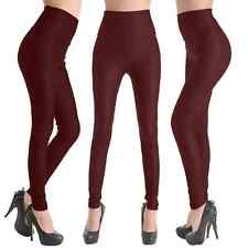 Hot Women's High Waist Faux Leather Sexy Look Tight Legging Pants - Wine Red