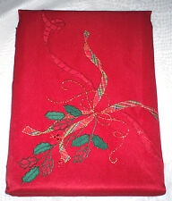 """$140 New Lenox Christmas Holiday Nouveau Cutwork 60"""" x140"""" Tablecloth Holly Red"""