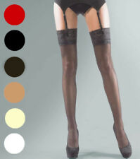 Silky Shine Lace Top Gloss Stockings ~ One size ~ 15 Denier ~ Various Colours