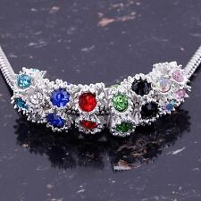 Lots New Crystal Rhinestone Silver Big Hole European Spacer Beads Fit Bracelet