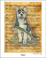 """Husky Dog Puppy Fine Art Print """"Note"""" Available sizes 8"""" x 10"""", A4 and A3 VK"""