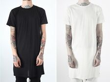 New Layered ADY...N Side Zip Extended Length T-Shirts 2 Kinds Length Black White