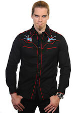 Banned Swallows tatoo rockabilly Men's shirt goth black UK S M L XL 36 38 40 42