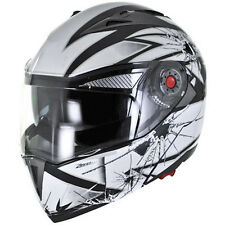 Glass Bullet Hole Modular Flip Up Dual Visor DOT Motorcycle Helmet - S/M/L/XL