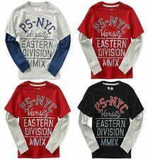 PS09 by Aeropostale Boys PS-NYC Varsity Top Grey Red Black 8 10 12 YEARS A24