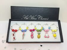 Dinner Party Wine Glass Charms in Gift Box Excellent Gift Idea for any Occasion!