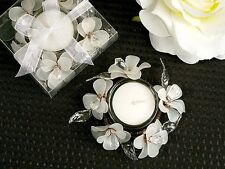 50 White, Pink or Blue Spring Glass Flower Tea Light Candle Holder Wedding Favor
