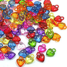 Acrylic Mix Color Heart Small Charms, 14x11x5mm