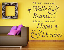 A Home Is Made Of Hopes Dreams Lounge Vinyl Wall Art Sticker, Mural, Decal