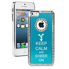 For iPhone 4 4S 5 5S 5c Light Blue Rhinestone Bling Case Keep Calm and Cheer On