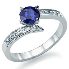 Engagement Ring Natural Blue Sapphire 14k Gold