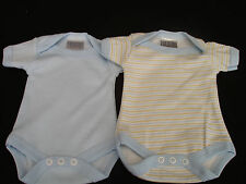 NEW PREMATURE BABY BOY 3-5 OR 5- 8 LBS VEST BODYSUIT BLUE OR BLUE STRIPE