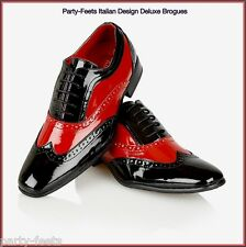 Vintage 1920s 30s 40s Mens Black and Red Wing tip Spectator Gatsby Brogues Shoes