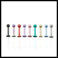 Labret  Bar Studs Lip Monroe Tragus Anodized 16G 8mm Length 3mm Ball - 9 Colours