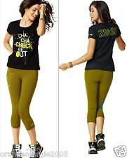 ZUMBA  FITNESS ~2 PIECE SET!~ Leggings Capris Capri Pants & Top Shirt Dance S M