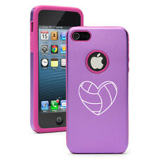 iPhone 4 4S 5 5S 5c Purple Aluminum Silicone Hard Case Cover Heart Volleyball