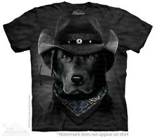 Big Face Cowboy Black Lab T-Shirt by The Mountain. Giant Dog Head Tees S-3XL