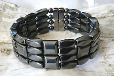 "Mens Powerful 100% Magnetic Hematite Bracelet STRONG 4row THERAPY GOLF 7/8"" WIDE"