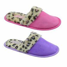 Ladies Girls Womens Mule Full Toe Slippers SIZES 3/4 5/6 7/8 Pink Or Lilac