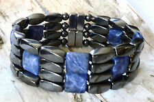 "Men's Powerful Magnetic Hematite SODALITE Bracelet STRONG 4row THERAPY! 7/8""WIDE"
