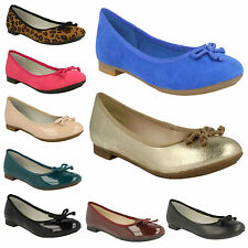 LADIES CLARKS CAROUSEL RIDE SLIP ON BOW DETAIL LEATHER BALLERINA FLAT SHOES